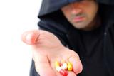 Dealer Man offering drugs or medicines . poster