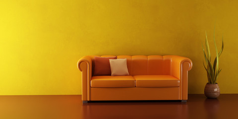 3d interior with modern couch and plant