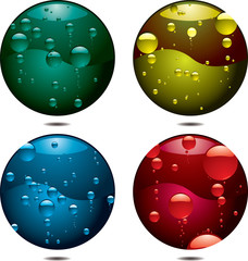 Four buttons with different coloured bubbles