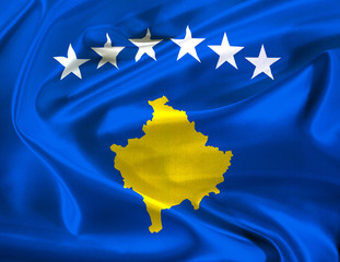 the newly designed flag of the balkan country of kosovo