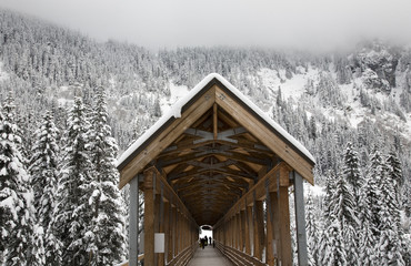 Snowy Wooden Covered Bridge Alpental Snoqualme Washington