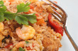 Spanish paella with chicken and king prawns