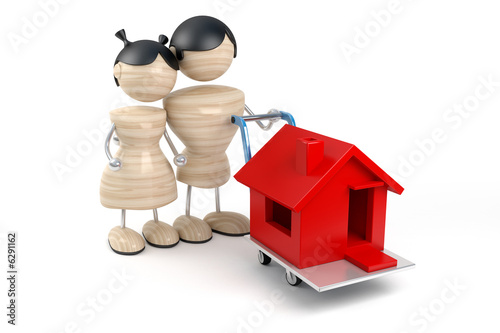 abstract young family buys house, white background