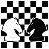 Chess board and two knights. Vector illustration. Contour. poster