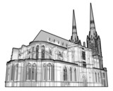 Black & White illustration of a generic cathedral. poster