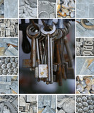 bumch of old rusty key dummies - metal junk - montage