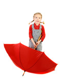 happy girl with funy braids  with red umbrella   - over white. poster