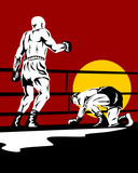 Boxer being knockout on his knees poster
