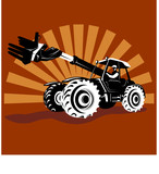 Tractor with telescopic arm poster
