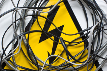 high voltage sign and wire