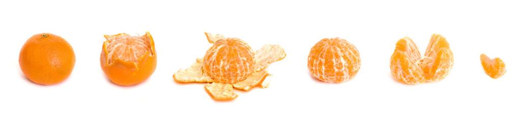 Peeling of a tasty juicy orange tangerine in 6 parts