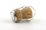 Champagne cork without any brand marks, on a white background poster