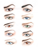 Fototapety The hand drawing of differently colored and shaped eyes.