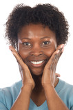 African American woman smiling a over white background poster