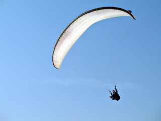 A paraglider il flying in the blue sky with his white paraglide