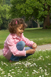 Little girl picking daisies in the local park