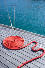 Coiled red rope.
