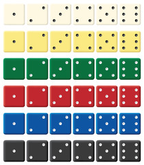 Color dices set. Vector illustration. Isolated on white.
