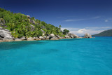 ile paradis seychelles turquoise océan lagon exotique tropique poster