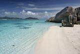 ile paradis vacances seychelles granit lagon exotique tropique poster