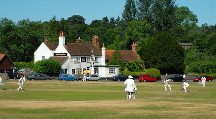 English tradition - Sunday cricket game and pub
