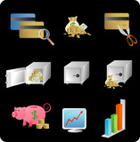 Illustration of objects with a financial/business theme poster