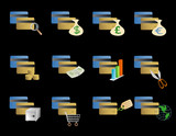 vector based illustration of various credit card icons poster