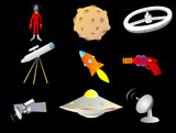 Objects with a space or science fiction theme  poster