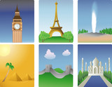 Vector illustration of various world destinations poster