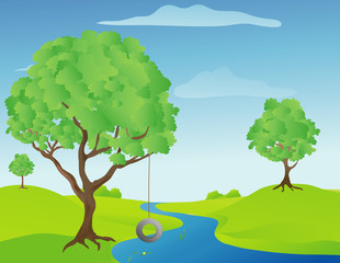 Illustration of a tree swing by a stream