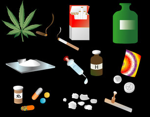 "Illustration depicting various ""vices"" or drugs"