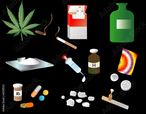 Illustration depicting various vices or drugs  t-shirt