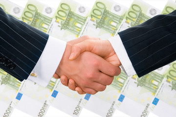 Creative photo of businesspeople handshake