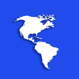 Outline of American Continent on blue background poster