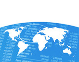 Outline map of world on financial figures poster