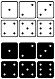 Dices set. Vector illustration. Black and white contour. poster
