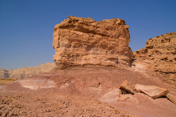 rock and red terrain, timna park, israel.