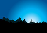 Three crosses in the distance poster