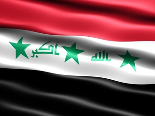 CG illustration of the old flag of Iraq (before 2008)