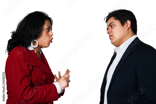 Upset hispanic couple