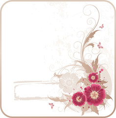 grunge frame with flowers and butterflies
