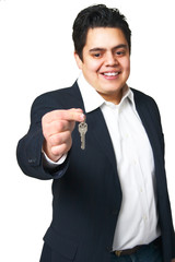 Man handing success keys