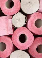 rolls of pink toilet paper