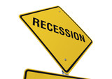 Recession road sign poster