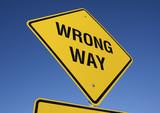 Wrong Way road sign poster