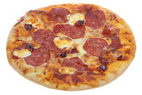 Tuscan Pizza with salami and mascapone cheese  poster