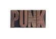 punk in letterpress wood type