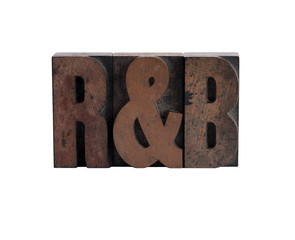 R&B in letterpress wood type