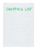 shopping list isolated on pure white background poster