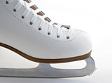 Toe and blade of a white elegant figure skate. poster